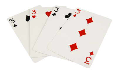 four three playing cards isolated on white background