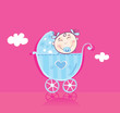 Happy baby in pram. It's girl! Vector cartoon Illustration.
