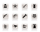 Simple law, order, police and crime icons - vector icon set poster
