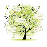 Fototapety Wish tree floral with cards for your text