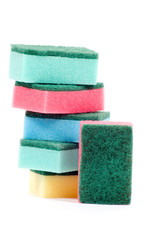 stack of colorful cleaning sponges