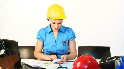 Female architect working in office footage