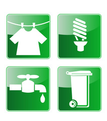 laundry  energy saving light bulb, faucet and garbage bin