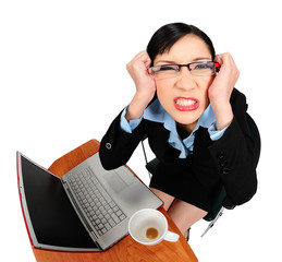 woman angry with her computer