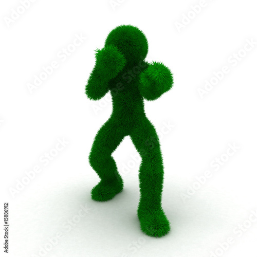 3D man boxer isolated on white.