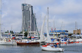 Fototapety Sailboat entering the marina in Gdynia, Poland