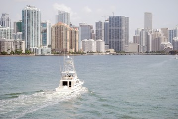Biscayne Bay and Brickell Avenue Building Skyline
