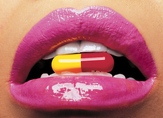 mouth with pill