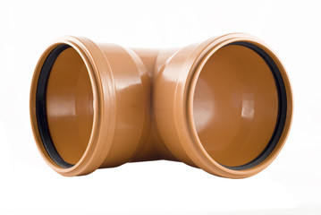Plastic T-shaped sewer tube isolated
