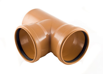 Plastic T-branch sewer pipe isolated over white