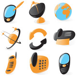 Smooth telecommunications icons poster