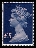 Vintage Queen Elizabeth Five Pounds Great Britain postage stamp poster