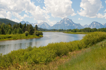 View from Oxbow Bend in Jackson Hole Wyoming
