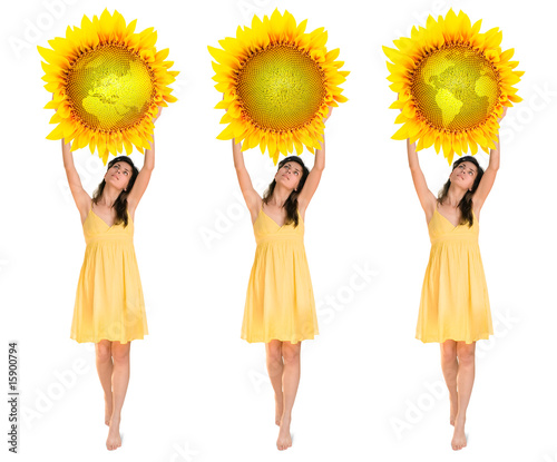woman holding flower planet