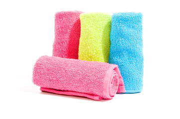 Soft cotton towels isolated on a white