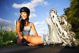 Fototapety Woman on inline skates