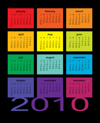 2010 Multi-Colored Calendar