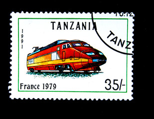 Old stamp.1991.Tanzania. Old locomotive. France 1979.