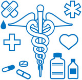 Medical and pharmaceutical items (Vector) poster
