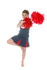 cute cheerleader balancing on one leg