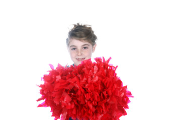 cute young girl holding big cheerleader pompom
