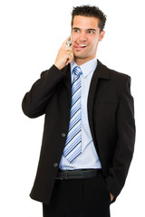 funny businessman making a call