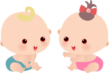 two cute baby