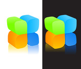 3d isometric logo - symbol poster