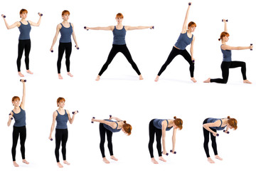 Woman with Dumbbells in Various Poses