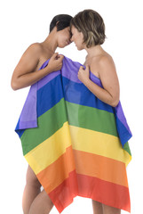 couple of women in love with lesbian rainbow flag