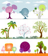 Different shape of Trees Collection. Vector Layered.