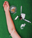 Drugs addict activities and some used tools poster