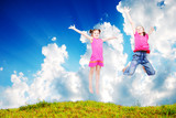 Beautiful scene of happy childhod in air