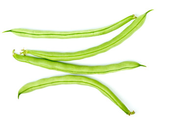 Four green bean pods
