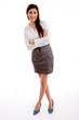 front view of businesswoman posing