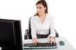 portrait of woman working on computer