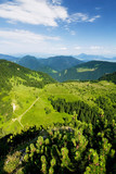 Viewpoint on the hill - summer mountain countryside poster