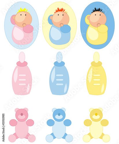 Baby and accessory icons set