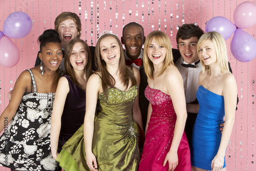 canvas print picture Group Of Teenage Friends Dressed For Prom