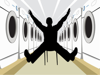 wide man on chair silhouette with washers vector