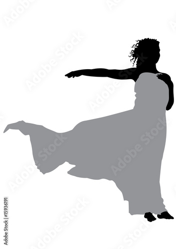 Young girl with fabric silhouette vector