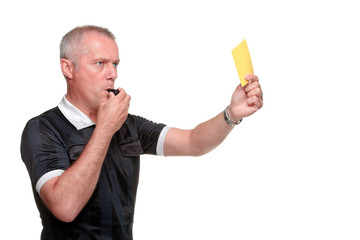 Referee showing the yellow card side profile