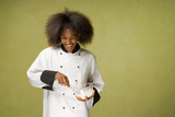 Young African American Chef Whisking Cream
