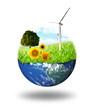 world with grass, sunflower and aerogenerator