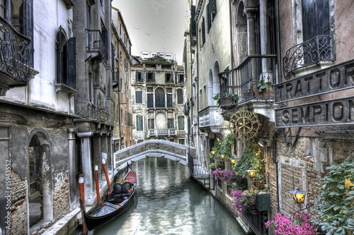 Staande foto Venice Gondel, Palazzi und Bruecke, Venedig, Italien