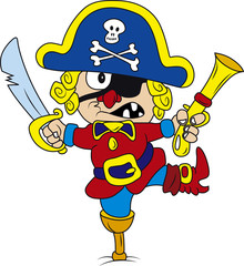 Vector illustration of drunken cartoon pirate