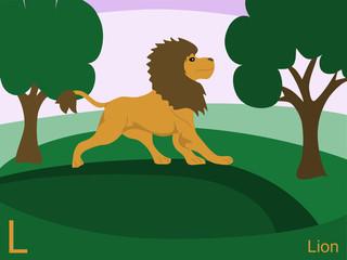 Animal alphabet flash card, L for lion