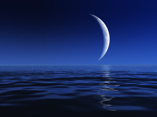 Night Moon Over Water