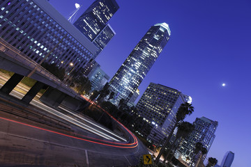 Los Angeles downtown under the moonlight