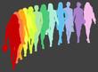 Sfilata di 12 silhouette colorate